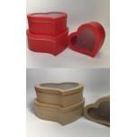 Набор коробок из 3х Сердце с окошком